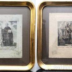Arte: DOS GRABADOS ENMARCADOS CON CRISTAL DE SAN LAUREANO Y EL GLORIOSO MARTIR SAN ROMAN - CUADRO-328. Lote 244419225