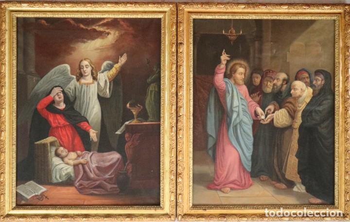 Arte: Joan Riutort y Arbós (Mallorca, S. XIX). Escena religiosa. Ó/L. Datada en 1881. Mide 82 x 62 cm. - Foto 2 - 244445515