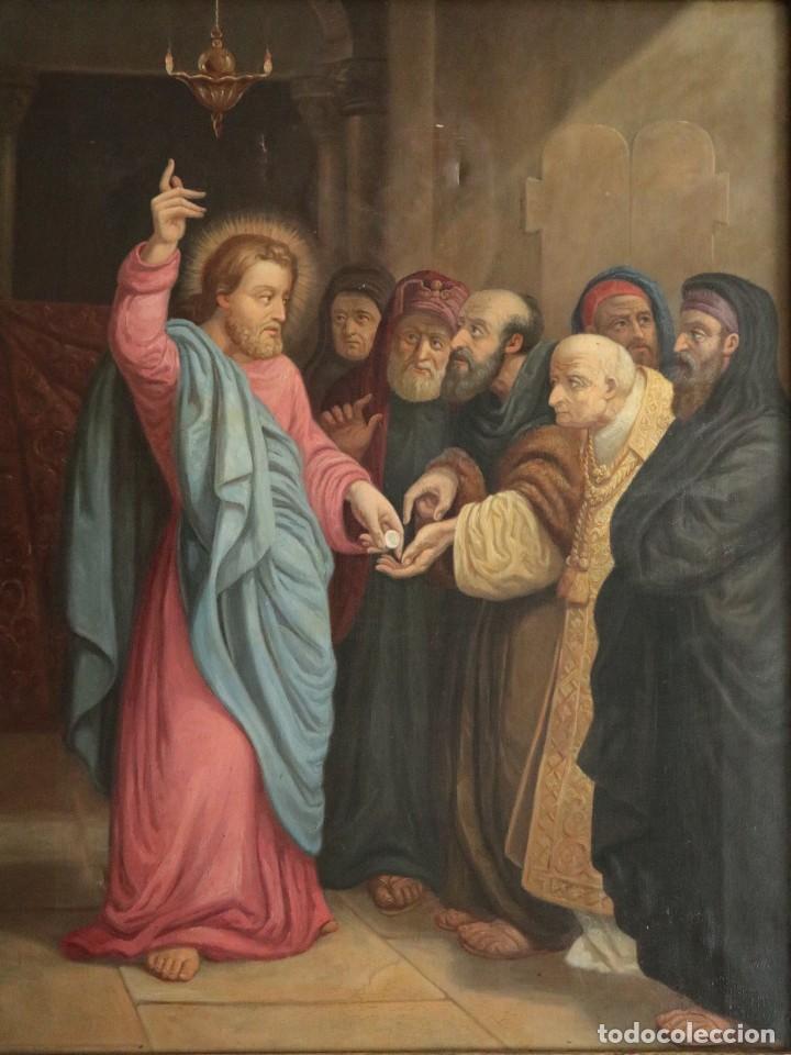 Arte: Joan Riutort y Arbós (Mallorca, S. XIX). Escena religiosa. Ó/L. Datada en 1881. Mide 82 x 62 cm. - Foto 3 - 244445515