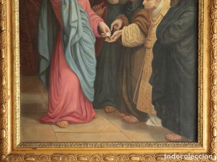 Arte: Joan Riutort y Arbós (Mallorca, S. XIX). Escena religiosa. Ó/L. Datada en 1881. Mide 82 x 62 cm. - Foto 5 - 244445515