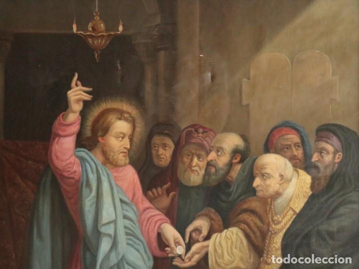Arte: Joan Riutort y Arbós (Mallorca, S. XIX). Escena religiosa. Ó/L. Datada en 1881. Mide 82 x 62 cm. - Foto 6 - 244445515