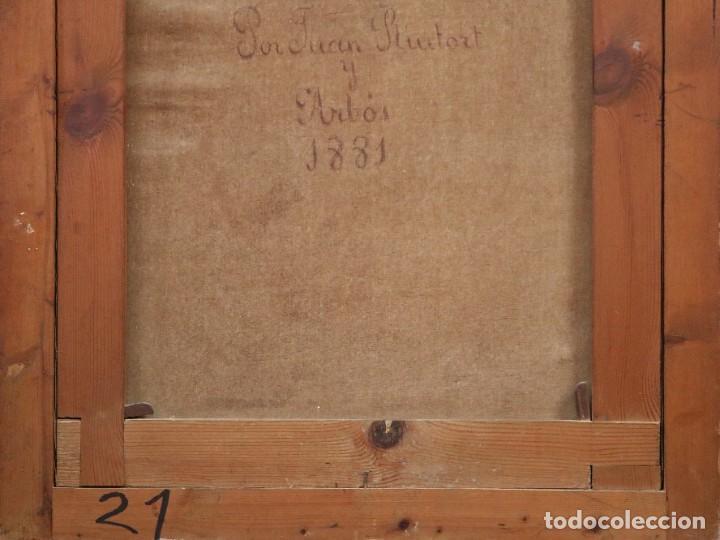 Arte: Joan Riutort y Arbós (Mallorca, S. XIX). Escena religiosa. Ó/L. Datada en 1881. Mide 82 x 62 cm. - Foto 22 - 244445515