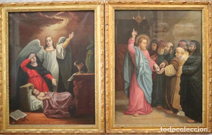 Arte: Joan Riutort y Arbós (Mallorca, S. XIX). Escena religiosa. Ó/L. Datada en 1881. Mide 82 x 62 cm. - Foto 27 - 244445515