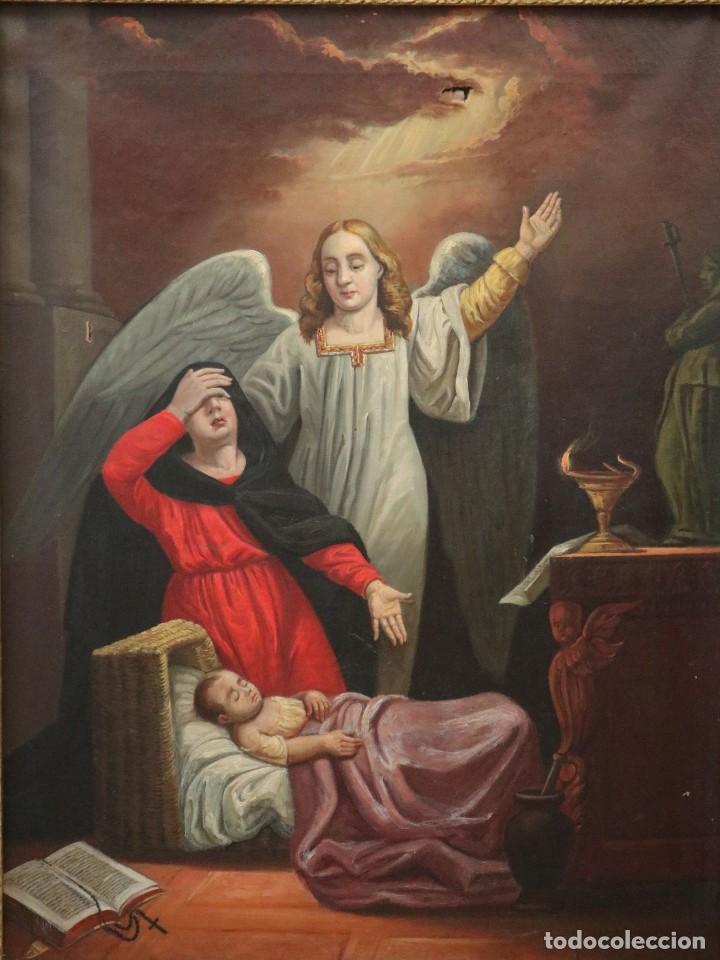 JOAN RIUTORT Y ARBÓS (MALLORCA, S. XIX). ESCENA RELIGIOSA. Ó/L. MIDE 82 X 62 CM. (Arte - Arte Religioso - Pintura Religiosa - Oleo)