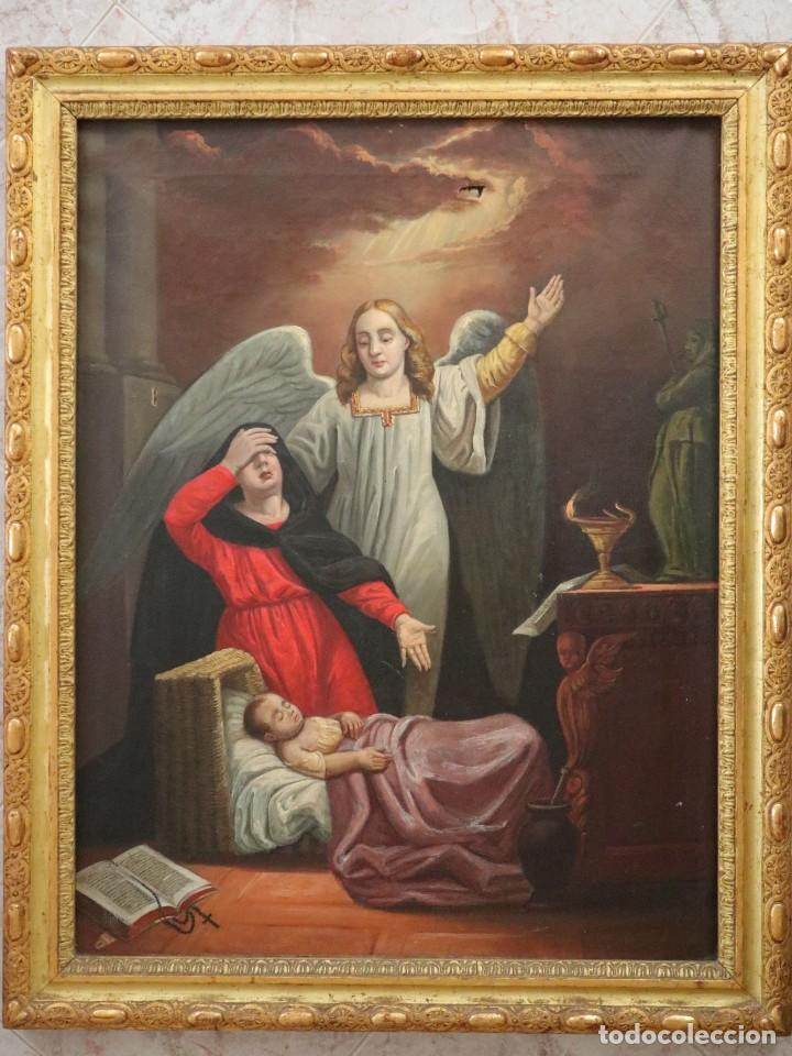 Arte: Joan Riutort y Arbós (Mallorca, S. XIX). Escena religiosa. Ó/L. Mide 82 x 62 cm. - Foto 3 - 244446860