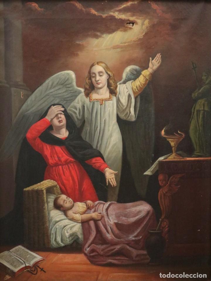Arte: Joan Riutort y Arbós (Mallorca, S. XIX). Escena religiosa. Ó/L. Mide 82 x 62 cm. - Foto 6 - 244446860
