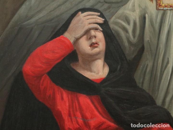Arte: Joan Riutort y Arbós (Mallorca, S. XIX). Escena religiosa. Ó/L. Mide 82 x 62 cm. - Foto 15 - 244446860