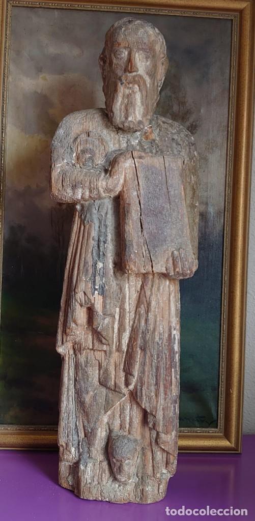 TALLA MADERA SAN GERÓNIMO ROMANICO GOTICO SIGLO XIV 72 CM (Arte - Arte Religioso - Escultura)
