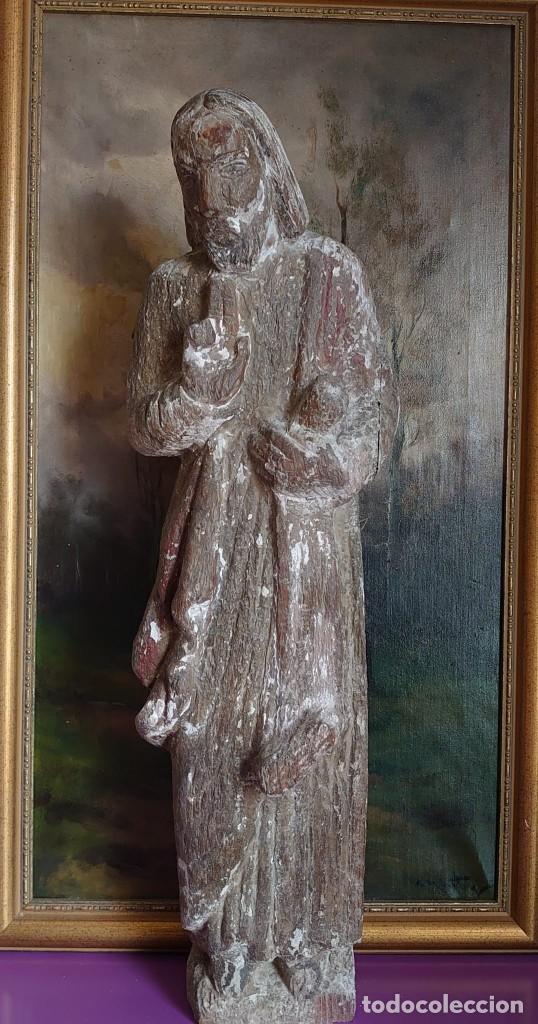 TALLA DE MADERA ROMANICA CRISTO REY SIGLO XIII XIV 67CM (Arte - Arte Religioso - Escultura)