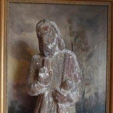 Arte: TALLA DE MADERA ROMANICA CRISTO REY SIGLO XIII XIV 67CM. Lote 244500990