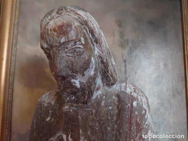 Arte: TALLA DE MADERA ROMANICA CRISTO REY SIGLO XIII XIV 67CM - Foto 3 - 244500990