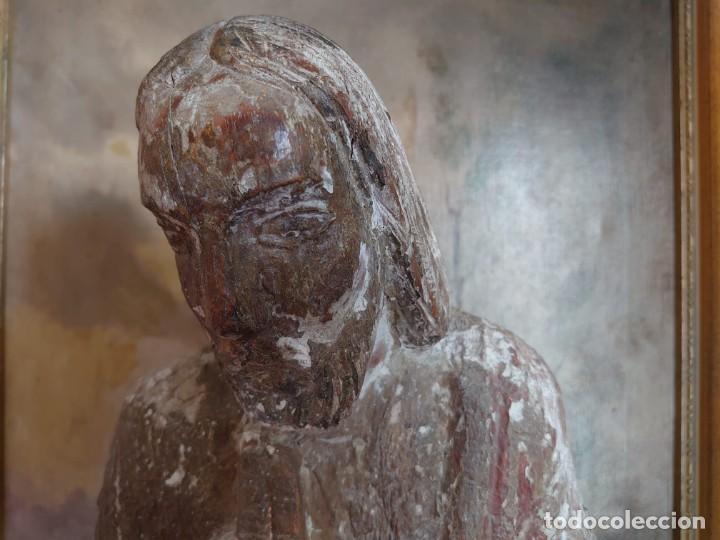 Arte: TALLA DE MADERA ROMANICA CRISTO REY SIGLO XIII XIV 67CM - Foto 4 - 244500990