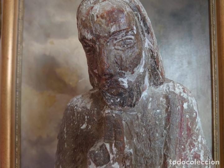 Arte: TALLA DE MADERA ROMANICA CRISTO REY SIGLO XIII XIV 67CM - Foto 6 - 244500990
