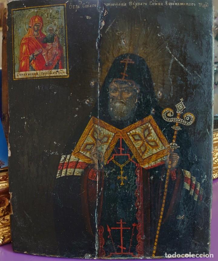 ANTIGUO ICONO RUSO SAN MITROFAN DE VORONEZH SIGLO XVIII (Arte - Arte Religioso - Iconos)