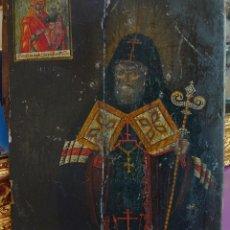 Arte: ANTIGUO ICONO RUSO SAN MITROFAN DE VORONEZH SIGLO XVIII. Lote 244537260