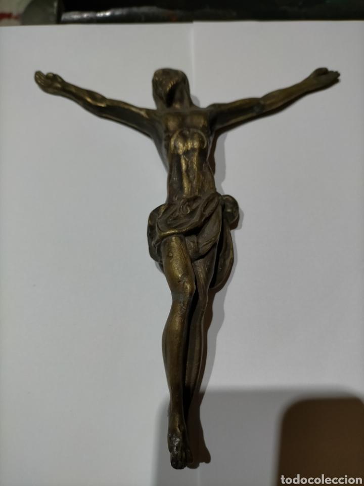 Arte: FIGURA CRISTO EN BRONCE. 520 GRAMOS, 20x16,5 Cm - Foto 2 - 244630210