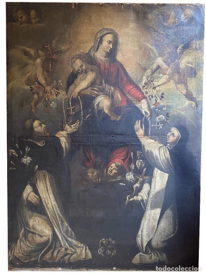 VIRGEN DEL ROSARIO CON SANTO DOMINGO DE GUZMÁN Y SANTA CATALINA DE SIENA. SIGLO XVIII (Arte - Arte Religioso - Pintura Religiosa - Oleo)