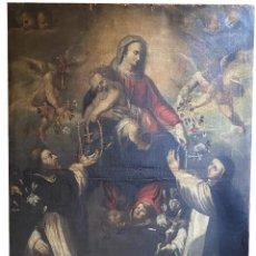 Arte: VIRGEN DEL ROSARIO CON SANTO DOMINGO DE GUZMÁN Y SANTA CATALINA DE SIENA. SIGLO XVIII. Lote 244427815