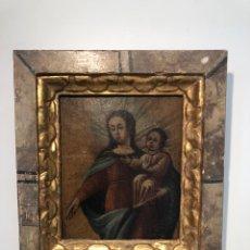 Arte: PRECIOSO MARCO Y OLEO DE LA VIRGEN Y NIÑO JESUS ANTIGUO.. Lote 244645315
