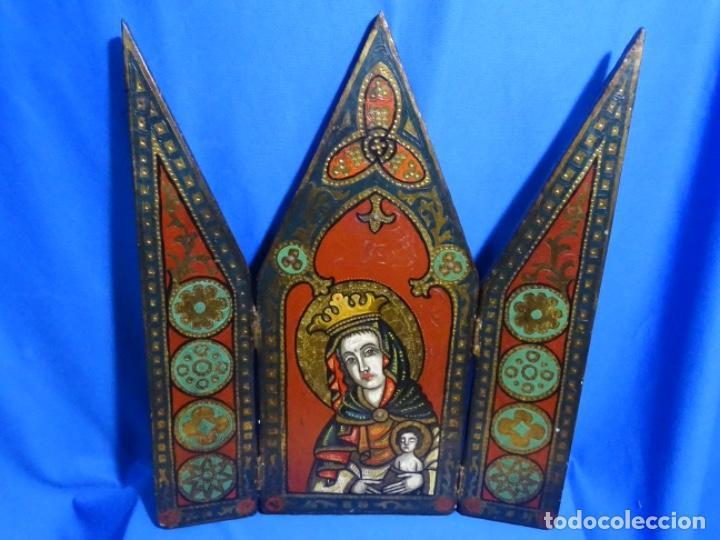 ICONO ORTODOXO PINTADO AL ÓLEO.VIRGEN CON NIÑO. (Arte - Arte Religioso - Iconos)
