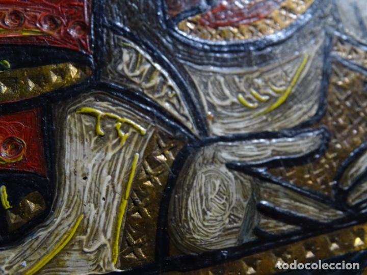 Arte: ICONO ORTODOXO PINTADO AL ÓLEO.VIRGEN CON NIÑO. - Foto 11 - 244691265