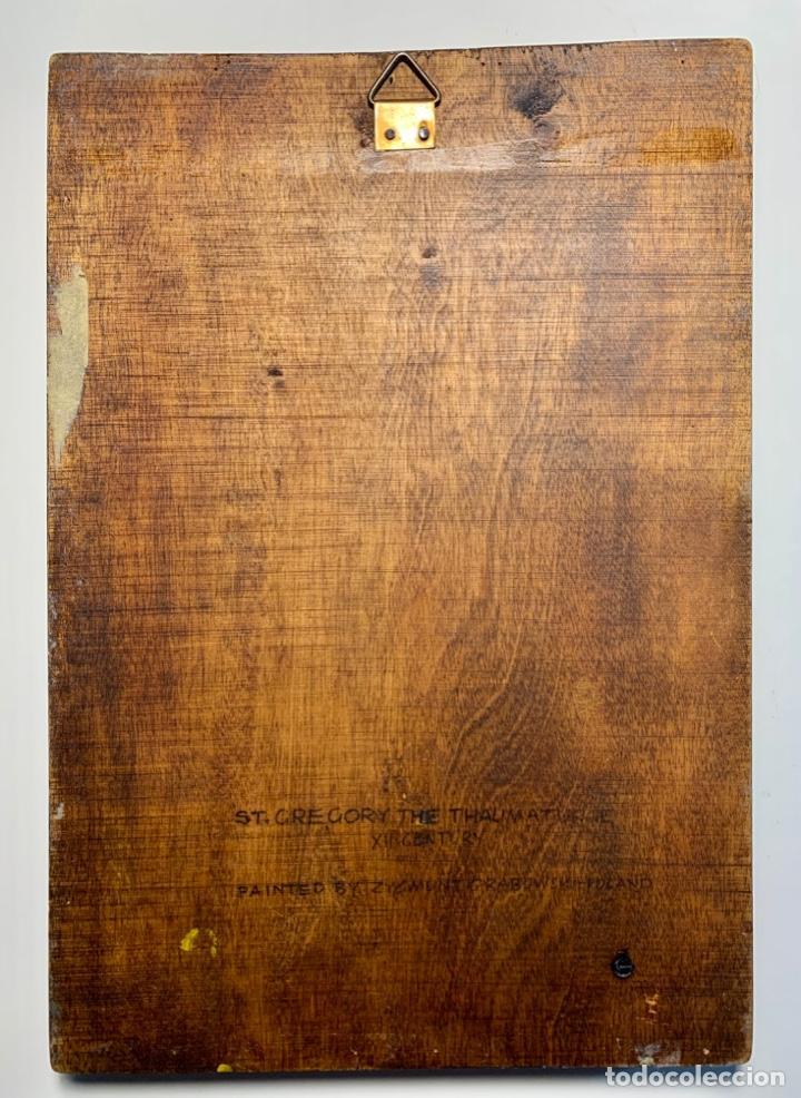 Arte: Tablilla policromada reproducción de San Gregorio Taumaturgo - Foto 3 - 244862540