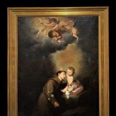 Arte: MAGNIFICO S ANTONIO DE PADUA CON EL NIÑO JESUS, SEGUN MURILLO, COPIA ANTIGUA DE GRAN CALIDAD. Lote 244899155