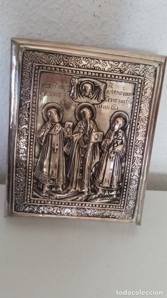 ICONO RELIGIOSO GRAVADO.HECHO EN MADERA Y PLACADO METAL PRATIADO (Arte - Arte Religioso - Iconos)