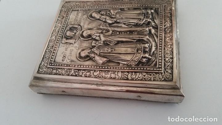 Arte: ICONO RELIGIOSO GRAVADO.HECHO EN MADERA Y PLACADO METAL PRATIADO - Foto 7 - 244917070