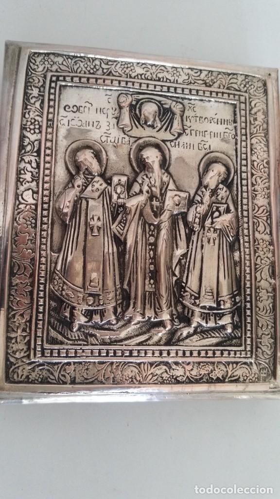 Arte: ICONO RELIGIOSO GRAVADO.HECHO EN MADERA Y PLACADO METAL PRATIADO - Foto 8 - 244917070