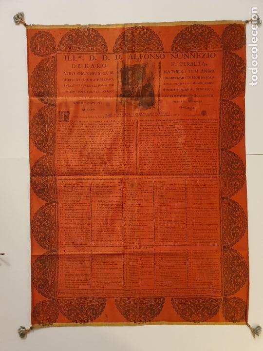 GRABADO SOBRE SEDA - ALONSO NÚÑEZ DE HARO ARZOBISPO DE MÉXICO - 1772 - 52 X 72 CM. (Arte - Arte Religioso - Grabados)
