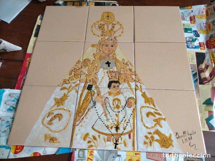45,7 CM ANTIGUO AZULEJO MOSAICO 9 RETABLO CERAMO VIRGEN DEL ROSARIO PATRONA DE CADIZ PINTADO 2007 (Arte - Arte Religioso - Retablos)