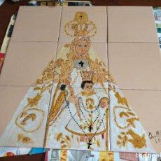 Arte: 45,7 CM ANTIGUO AZULEJO MOSAICO 9 RETABLO CERAMO VIRGEN DEL ROSARIO PATRONA DE CADIZ PINTADO 2007. Lote 245180110