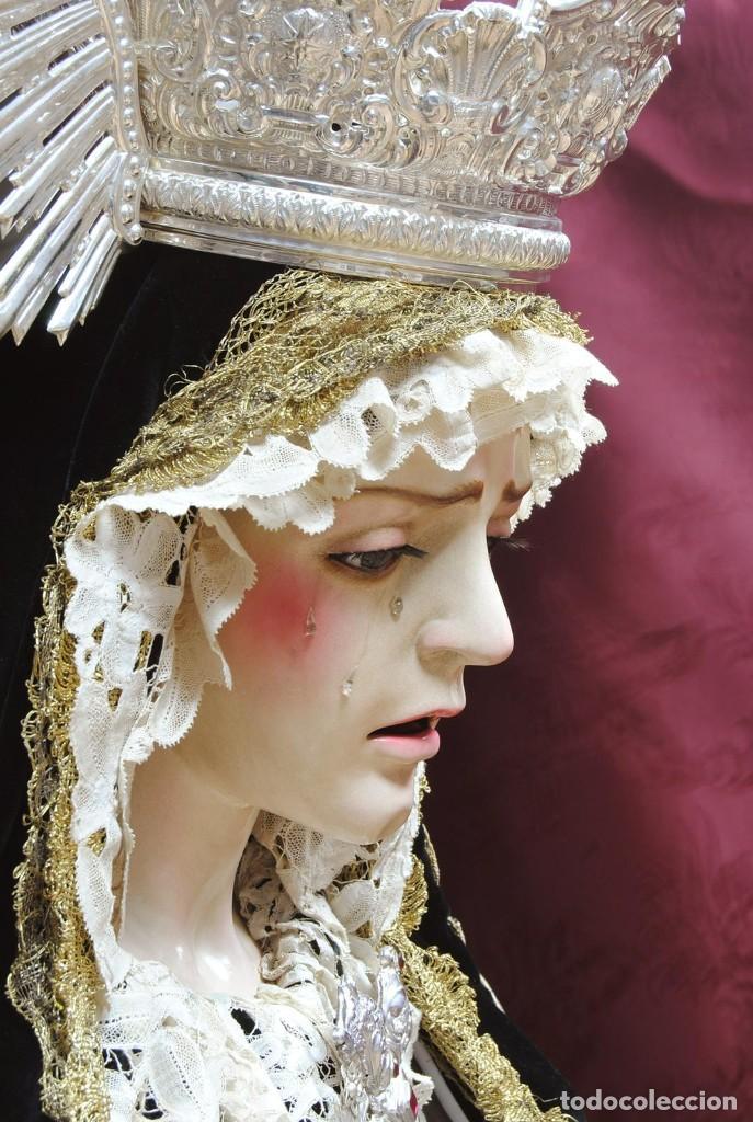 Arte: Virgen Dolorosa de tamaño natural elaborada en madera tallada y policromada. S. XX. - Foto 2 - 245301075