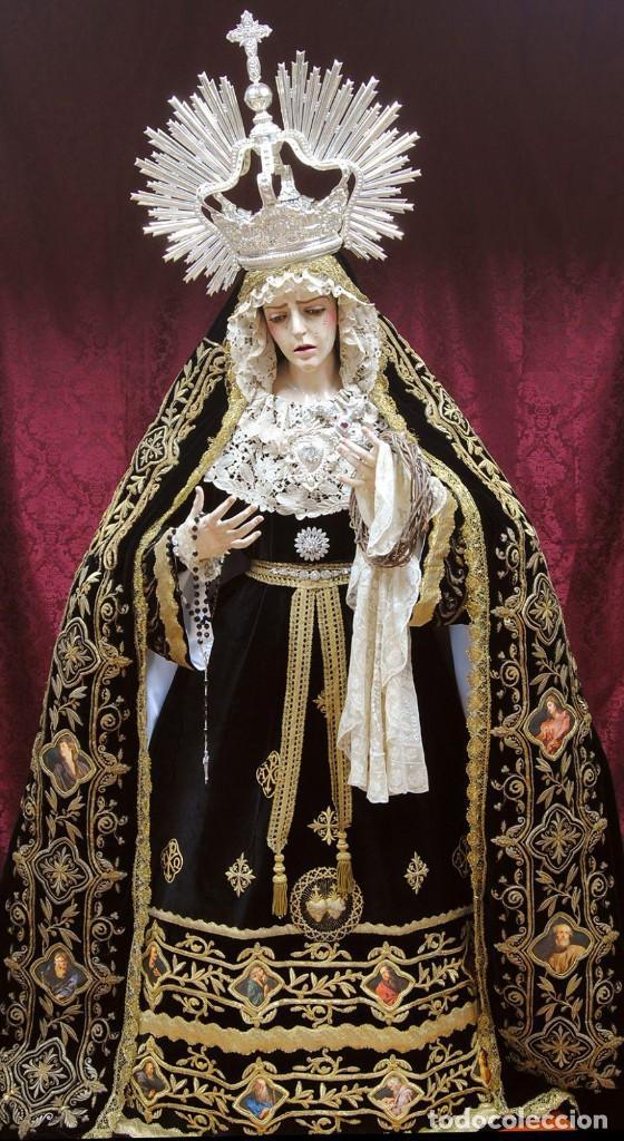 Arte: Virgen Dolorosa de tamaño natural elaborada en madera tallada y policromada. S. XX. - Foto 3 - 245301075
