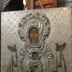 Arte: ICONO ORTODOXO BIZANTINO. BONITO TRABAJO CONTEMPORÁNEO EN ESTAÑO. TAMAÑO 43 X 46 CTMS.. Lote 245369690