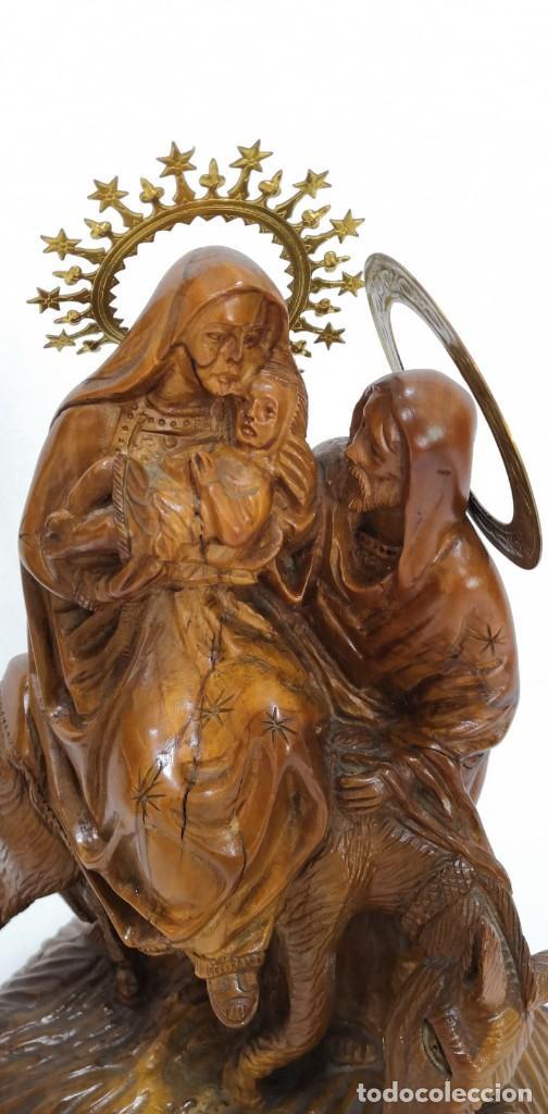 Arte: Preciosa escultura huida a Egipto talla en madera - Foto 2 - 245487130