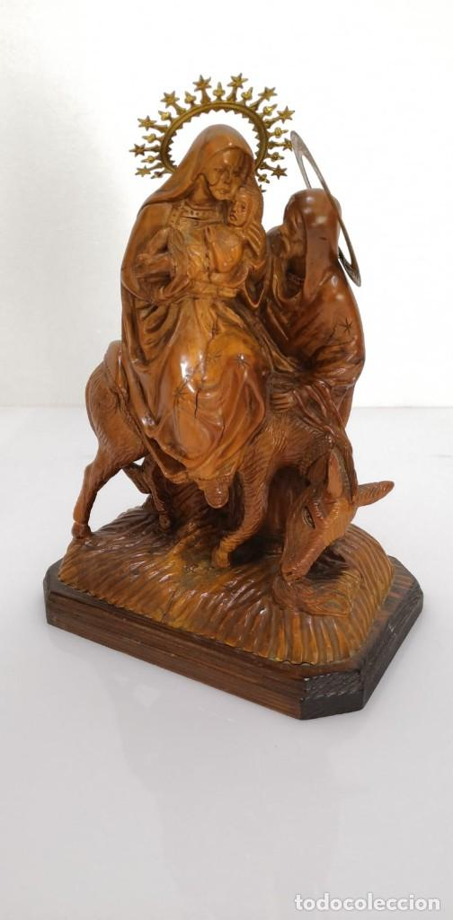 Arte: Preciosa escultura huida a Egipto talla en madera - Foto 3 - 245487130