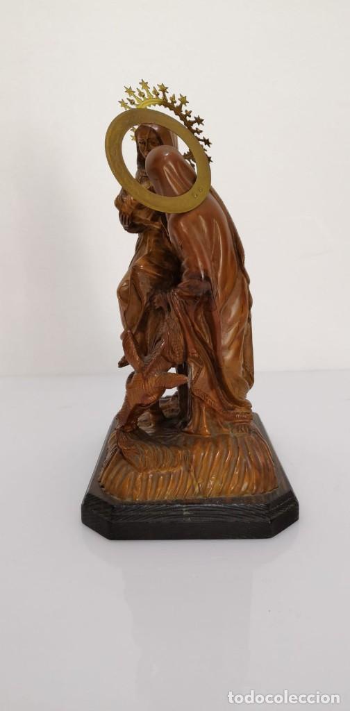 Arte: Preciosa escultura huida a Egipto talla en madera - Foto 6 - 245487130
