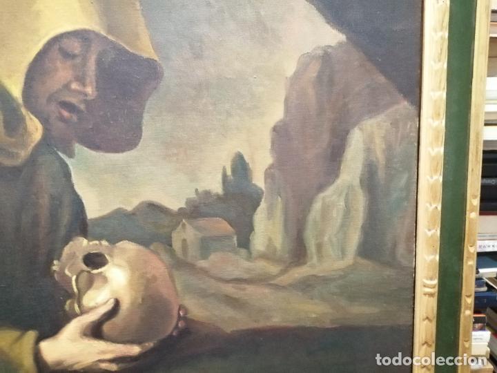Arte: IMPRESIONANTE ÓLEO DE GRANDES DIMENSIONES DE SAN FRANCISCO DE ASÍS .FINALES S. XIX - PRINCIPIOS S.XX - Foto 7 - 245967910