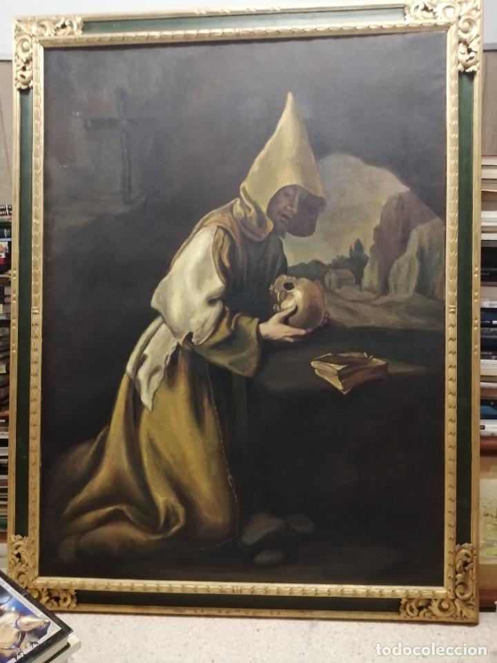IMPRESIONANTE ÓLEO DE GRANDES DIMENSIONES DE SAN FRANCISCO DE ASÍS .FINALES S. XIX - PRINCIPIOS S.XX (Arte - Arte Religioso - Pintura Religiosa - Oleo)