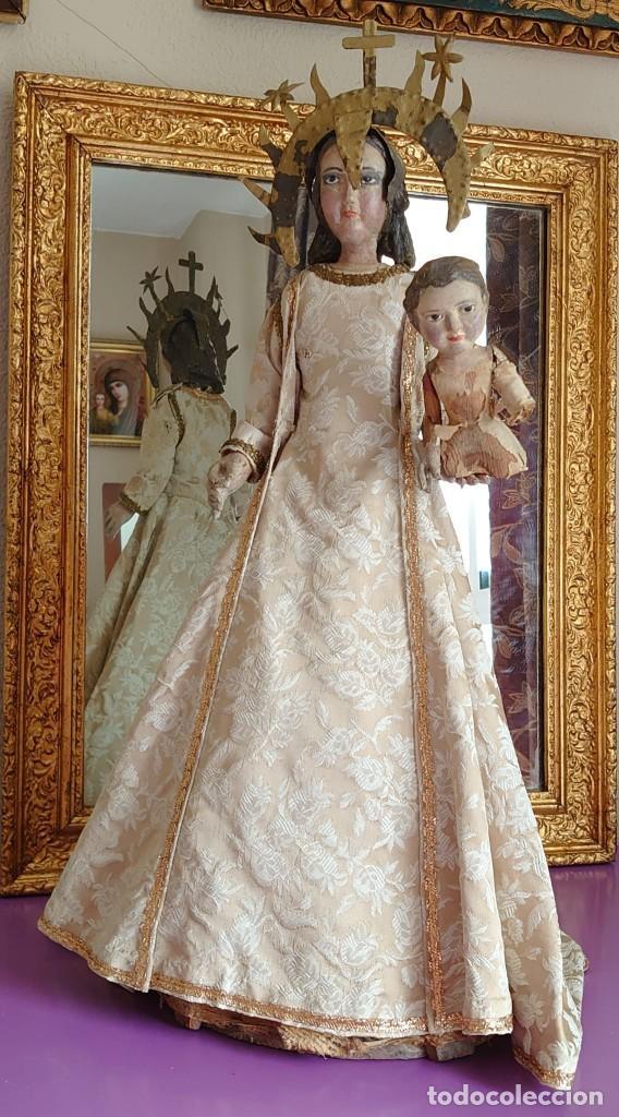 VIRGEN DE VESTIR CON EL NIÑO EN MADERA DE CANDELERO SIGLOXVIII 64CM (Arte - Arte Religioso - Escultura)