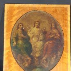 Arte: SANTÍSIMA TRINIDAD. ÓLEO COBRE. CARLOS IV. FINALES SIGLO XVIII. XIX.. Lote 246076355