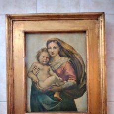 Arte: PRECIOSO CUADRO VIRGEN CON EL NIÑO, LAMINA BARNIZADA SOBRE MADERA,MARCO DORADO,SIGLO XIX/XX. Lote 246142615
