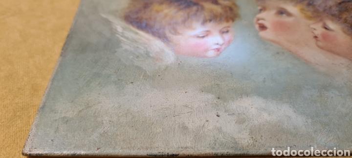 Arte: Anguelitos preciosos mucha calidad lienzo pegado a cartón marabilloso 15 x23finales xix prxx - Foto 4 - 246190700