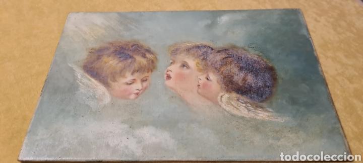 ANGUELITOS PRECIOSOS MUCHA CALIDAD LIENZO PEGADO A CARTÓN MARABILLOSO 15 X23FINALES XIX PRXX (Arte - Arte Religioso - Pintura Religiosa - Oleo)