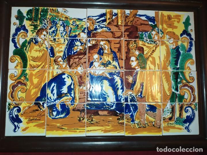 CUADRO COMPOSICIÓN PEQUEÑOS AZULEJOS VALENCIANOS FIRMADO J BOIX? ESCENA NACIMIENTO REYES MAGOS MARCO (Arte - Arte Religioso - Pintura Religiosa - Otros)