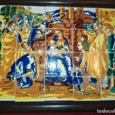 Arte: CUADRO COMPOSICIÓN PEQUEÑOS AZULEJOS VALENCIANOS FIRMADO J BOIX? ESCENA NACIMIENTO REYES MAGOS MARCO. Lote 246191245