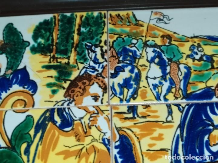 Arte: CUADRO COMPOSICIÓN PEQUEÑOS AZULEJOS VALENCIANOS FIRMADO J BOIX? ESCENA NACIMIENTO REYES MAGOS MARCO - Foto 2 - 246191245