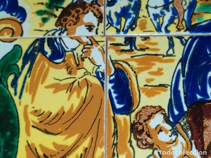 Arte: CUADRO COMPOSICIÓN PEQUEÑOS AZULEJOS VALENCIANOS FIRMADO J BOIX? ESCENA NACIMIENTO REYES MAGOS MARCO - Foto 7 - 246191245